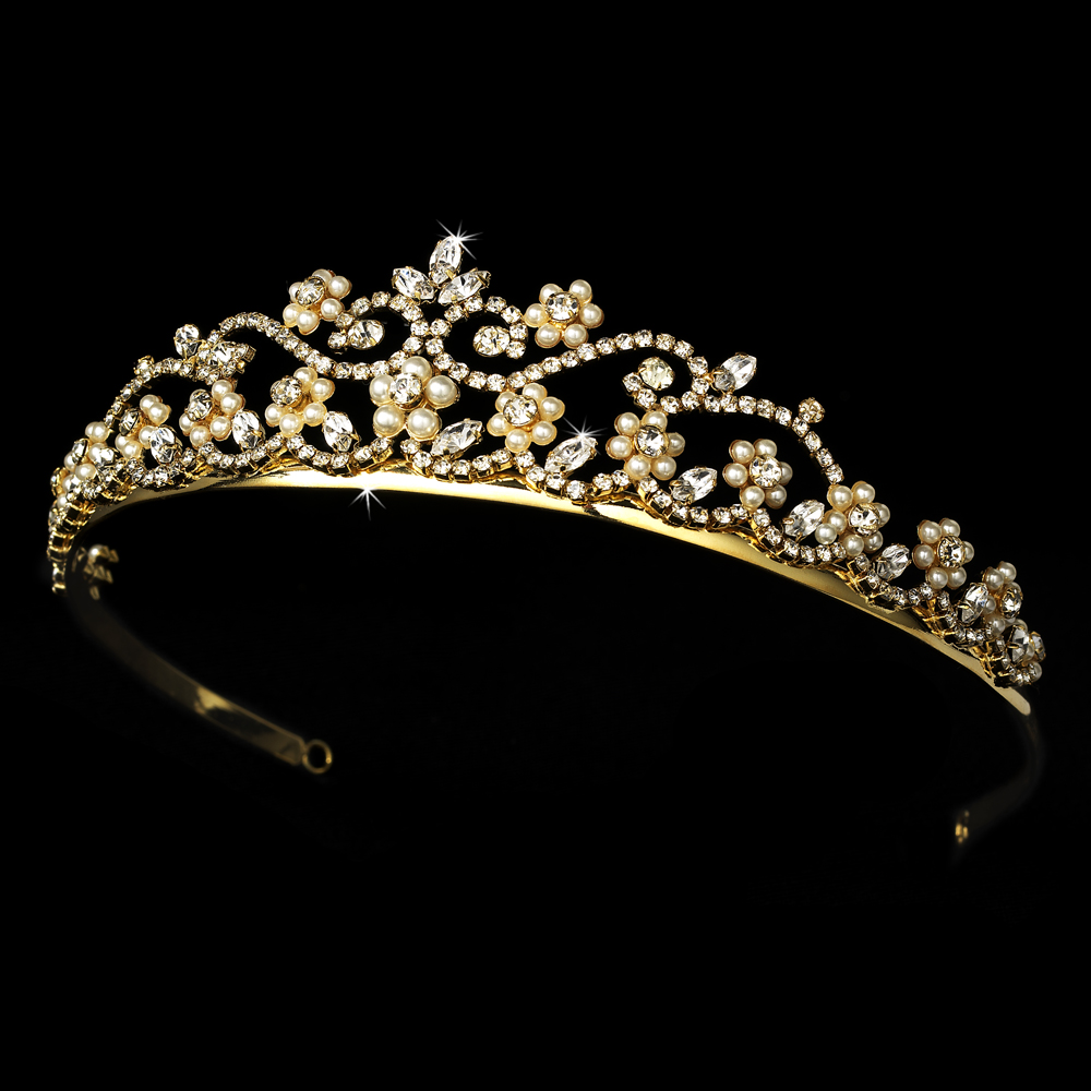 Gold Rhinestone Amp Pearl Bridal Tiara Hp 2031 Wholesale