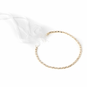 Gold Ivory Pearl & Rhinestone Bridal Wedding Ribbon Headband 2721