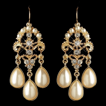 Gold Ivory Pearl & Rhinestone Chandelier Earrings 1221
