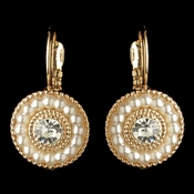 Gold Ivory Pearl & Rhinestone Circle Leverback Drop Earrings 295