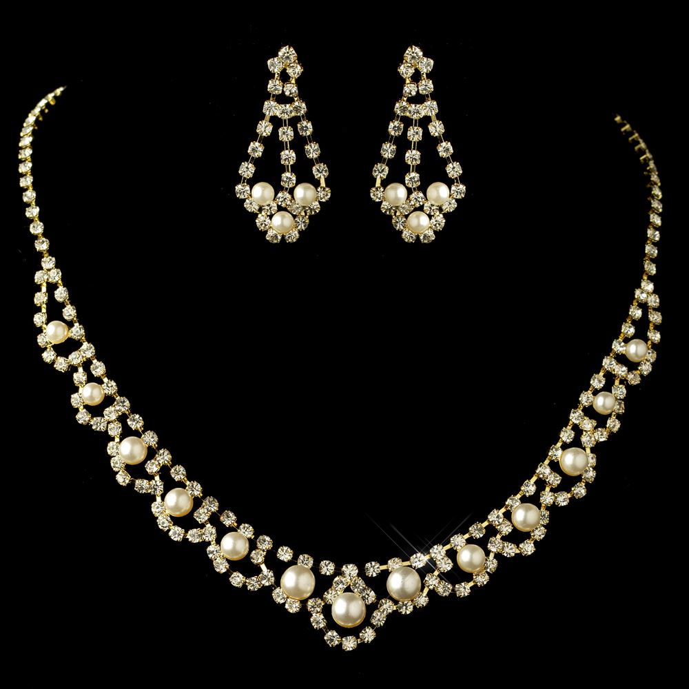 Gold ivory pearl rhinestone jewelry set for Best glue for pearl jewelry