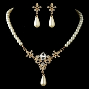 Gold Diamond White Pearl & Rhinestone Vintage Fleur de lis Jewelry Set 4215 ***Discontinued***
