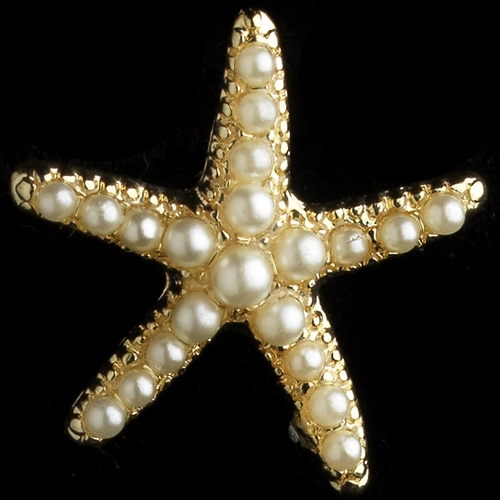 Gold Ivory Pearl Stud Starfish Earrings***Discontinued***