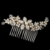 Gold Ivory Pearl, Swarovski Crystal Bead, Rondelle & Rhinestone Floral Comb