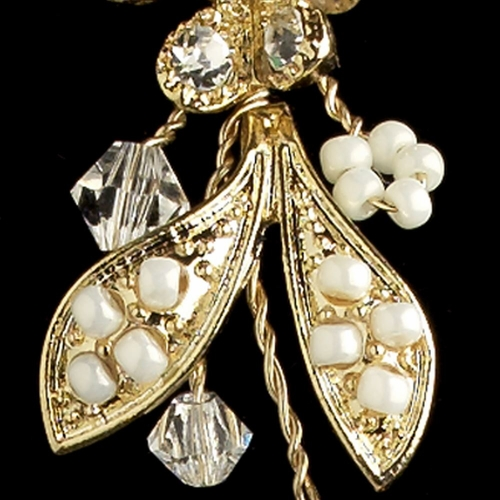 Gold Ivory Seed Bead, Swarovski Crystal & Rhinestone Drop Earrings 9906