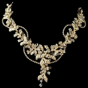 Gold Ivory Seed Pearl, Swarovski Crystal & Rhinestone Floral Necklace 9906
