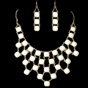 Gold Ivory Stone Drape Jewelry Set