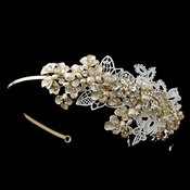 Gold Ivory & White Floral Lace Side Headband