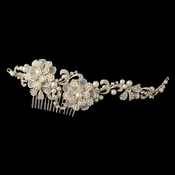 ✧SPECIAL ORDER ONLY✧ Gold Ivory & White Floral Organza Side Comb