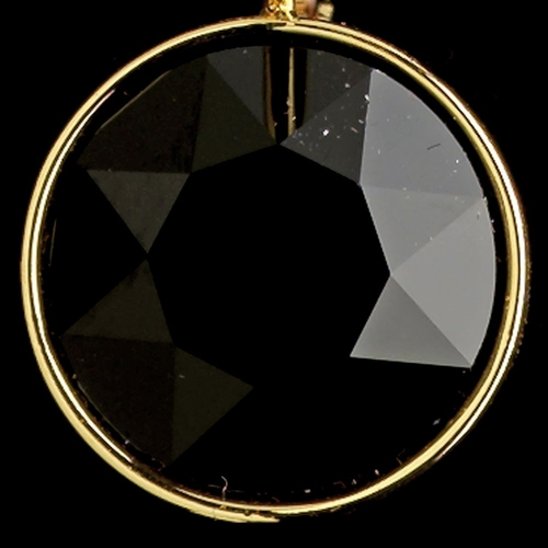 Gold Jet Black Swarovski Crystal Element Round Leverback Earrings 9600