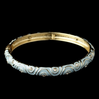 Gold Light Blue Enamel Swirl & Rhinestone Bangle Bracelet 82063