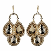 Gold Light Brown & Clear Rhinestone Drops Earrings 82042