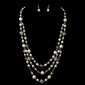 Gold Light Brown & Clear Rondelle Bead & Diamond White Pearl Drape Jewelry Set