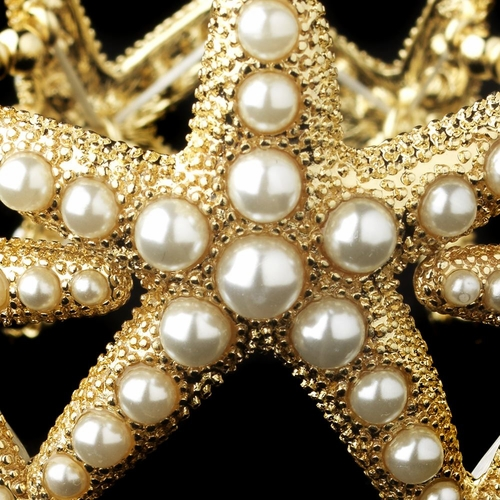 Gold Light Ivory Stretch Pearl Starfish Bracelet 9614