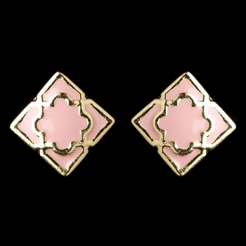 Gold Light Pink Simple Enameled Square Earrings 9627