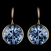 Gold Light Sapphire Blue Swarovski Crystal Element Round Leverback Earrings 9600