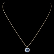 Gold Light Sapphire Round Swarovski Crystal Element On Chain Necklace 9600