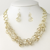 Gold Light Topaz & Cream Multi Faceted Cut Glass Linked Bridal Wedding Fashion Jewelry Set 9515