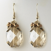 Gold Light Topaz Crystal Bridal Wedding Drop Earrings 9517