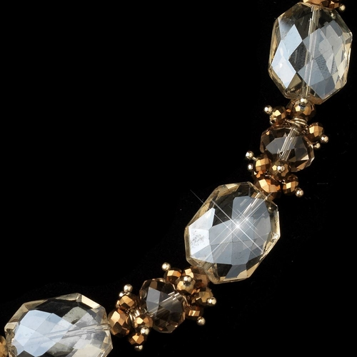Gold Light Topaz Faceted Chunky Glass Cut Fashion Necklace 9517