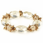 Gold Light Topaz Faceted Chunky Glass Cut Fashion Stretch Bracelet 9518