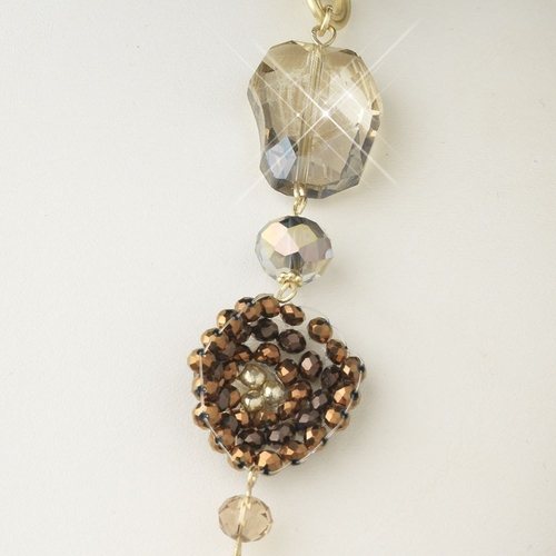 Gold Light Topaz Faceted Cut Glass Fashion Necklace 9508