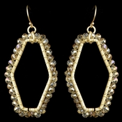Gold Light Topaz Matte Modern Dangle Earrings 9504 Accented w/ Crystal Beads***Discontinued***