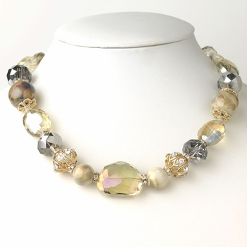 Gold Light Topaz & Natural Faceted Cut Glass Fashion Necklace 9519