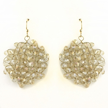 Gold Light Topaz Round Faceted Glass Crystal Earrings 9510