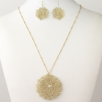 Gold Light Topaz Round Faceted Glass Crystal Jewelry Set 9510