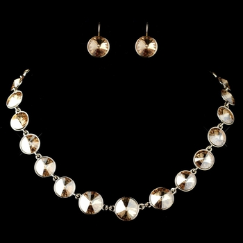 Gold Light Topaz Round Swarovski Element Crystal Necklace 9607 & Earrings 9603 Jewelry Set