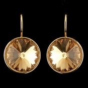 Gold Light Topaz Swarovski Crystal Element Large Round Leverback Earrings 9603
