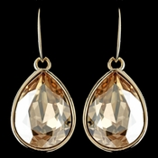 Gold Light Topaz Swarovski Crystal Element Large Teardrop Hook Earrings 9604
