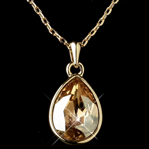 Gold Light Topaz Swarovski Crystal Element Teardrop Pendant Necklace 9602
