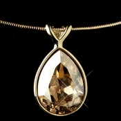 Gold Light Topaz Swarovski Crystal On Wire Teardrop Pendant Necklace 9604