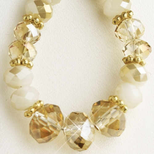 Gold Light Topaz, White & Smoke Mix Faceted Glass Stone Hoop Earrings