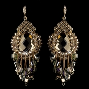 Gold Lt Brown Beaded & Rhinestone Hand Made Chandelier Earrings 82039