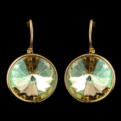 Gold Luminous Green Brown Swarovski Crystal Element Large Round Leverback Earrings 9603