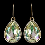 Gold Luminous Green Swarovski Crystal Element Large Teardrop Hook Earrings 9604