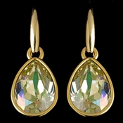 Gold Luminous Green Swarovski Crystal Element Teardrop Dangle Hook Earrings 9601