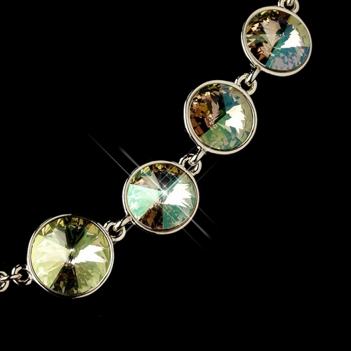 Gold Luminous Green Swarovski Crystal Round Solitaire Necklace 9607