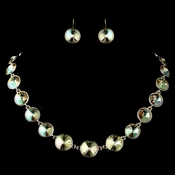 Gold Luminous Round Swarovski Element Crystal Necklace 9607 & Earrings 9603 Jewelry Set