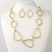 Gold Matte Oblong Metal Linked Bridal Wedding Fashion Jewelry Set 9516