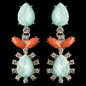Gold Mint & Coral Rhinestone Dangle Earrings 9624