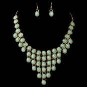 Gold Mint Green Acrylic Stone Bib Fashion Jewelry Set 82027