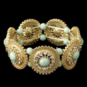 Gold Mint Green Stone & Clear Rhinestone Stretch Bracelet 82043