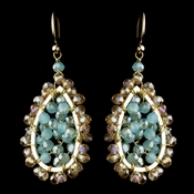 Gold Mint & Topaz Rondelle Swarovski Crystal Bead Drop Earrings