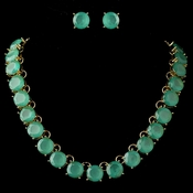 Gold Mint Turquoise Green Acrylic Stone Fashion Jewelry Set