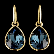 Gold Navy Blue Swarovski Crystal Element Teardrop Dangle Hook Earrings 9601