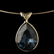 Gold Navy Swarovski Crystal On Wire Teardrop Pendant Necklace 9604